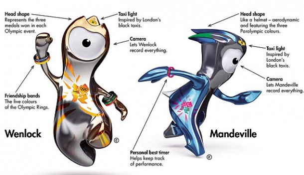 Wenlock and Mandeville, the official London 2012 Olympic and Paralympic mascots, with design features