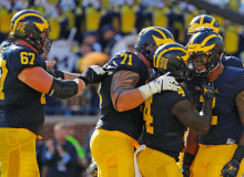 ANN ARBOR, MI - SEPTEMBER 24: Devin Asiasi #2 of the Michigan Wolverines celebrates a second quarter touchdown during the game against the Penn State Nittany Lions at Michigan Stadium on September 24, 2016 in Ann Arbor, Michigan.(Photo by Leon Halip/Getty Images)