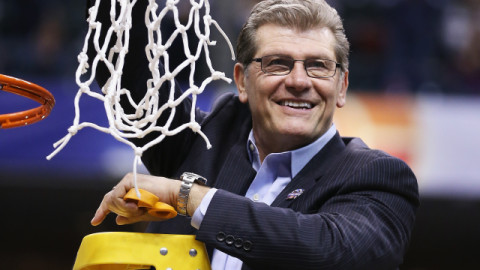 INDIANAPOLIS, IN - APRIL 05:  Head coach Geno Auriemma of the Connecticut Huskies holds up the net after cutting it down following their 82-51 victory over the Syracuse Orange to win the 2016 NCAA Women's Final Four Basketball Championship at Bankers Life Fieldhouse on April 5, 2016 in Indianapolis, Indiana.  (Photo by Andy Lyons/Getty Images)